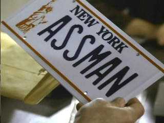 "Kramer's ASSMAN plates from the Seinfeld episode ""The Fusilli Jerry"""