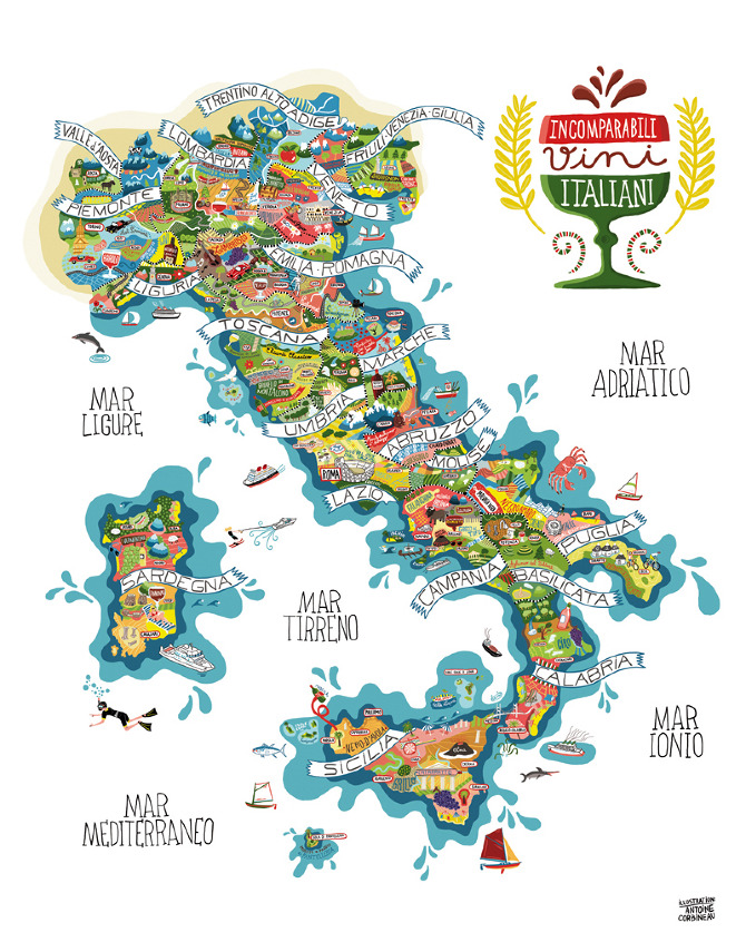 Show A Map Of Italy.Illustrated Map Wines Of Italy Vinegeek